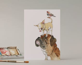 A Boxer, a Chihuaha and a zebra finch: Hand Drawn Card