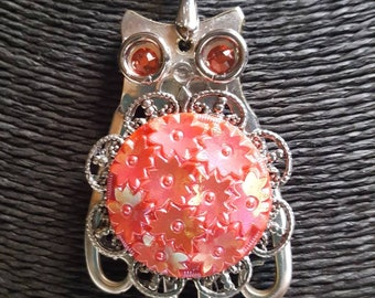 OWL Stunning repurposed  silverware fork pendant with Czech glass button belly and Swarovski crystal eyes. CONVERSATION PIECE.