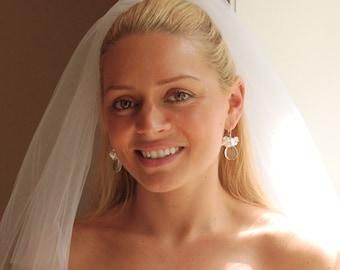 Clear Gemstone Earrings, Gemstone Pearl Bridal Earrings, Crystal Quartz Briolettes, Keshi Pearls & Rondelle Crystals in Sterling Silver