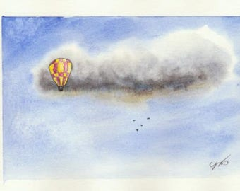 Original Watercolor Painting Of Hot Air Balloon by Tim Borkert
