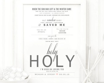 "Florida Georgia Line ""H.O.L.Y"" - Grey & Blush - Valentine's, Wedding Gift, Paper Anniversary Gift, Song Lyrics, Art Print"
