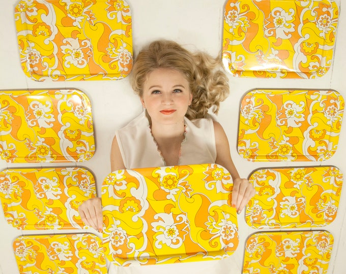 Vintage yellow floral tray set, orange gold metal retro 1970s serving TV platter trays home decor