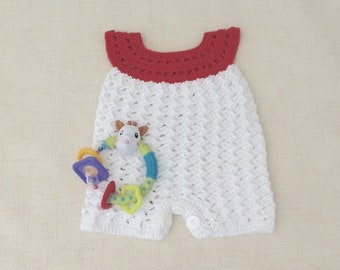 Romper playsuit cotton baby crochet Bodysuit, bib, white, baby, newborn onesie, sleeveless combination