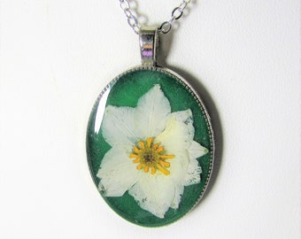 Larkspur and Sunflower,   Pressed Flower Pendant, Real Flowers,Pressed Flower Jewelry, Resin (3123)