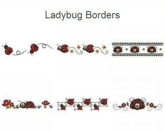 Ladybug Borders Spring Season Machine Embroidery Designs Pack Instant Download 4x4 5x5 6x6 hoop 10 designs APE1971