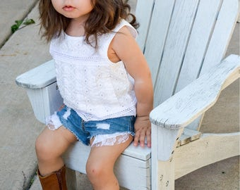Lace Shorties, lace shorts, lace shorts for baby, lace shorts for girls, lace shorts for toddlers, shorts for babies, distressed shorts