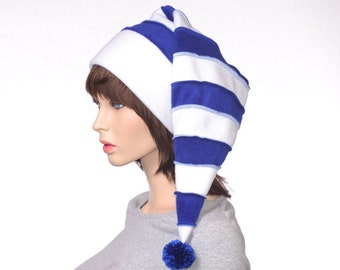 Adult Stocking Cap Long Blue and White Stripe with Pompom Tip Festive Holiday Hat Mens Womens Long Beanie Hat Warm Winter Elf Hat
