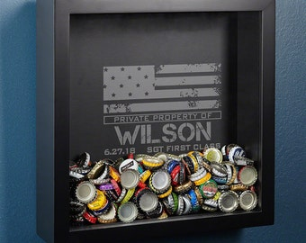 Personalized Shadow Box with American Heroes  Design - Bottle Cap Holder Display Case - Ideal Military Gift - Thoughtful Retirement Gifts