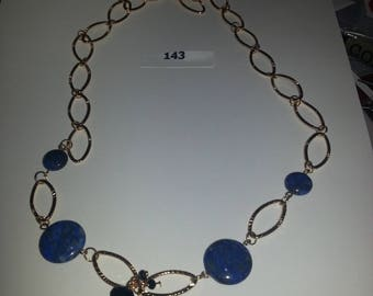 Blue Lapis with gold rings necklace, bracelet an earrings.