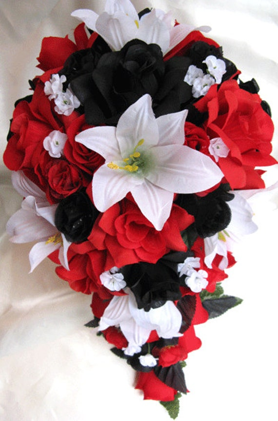 Wedding bouquet Bridal Silk flowers Cascade BLACK RED WHITE