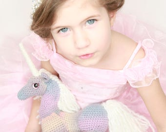 Crocheted Pasten Rainbow Unicorn with Cloudy cream White Mane and Horn Heirloom Amigirumi Stuffed Animal Toy