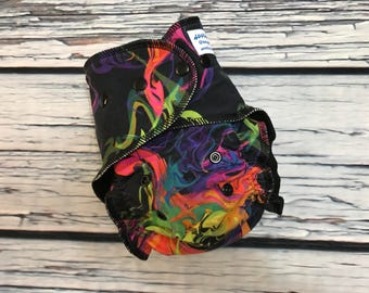 Fitted Cloth Diaper - Stay Dry Liner - Overnight Fitted - Optional Hemp or Bamboo Insert - Melted Crayon