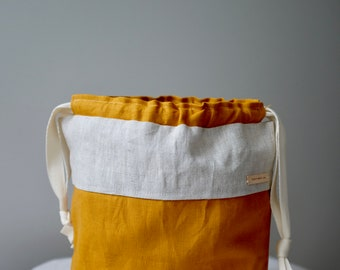 Sweet&Simple linen drawstring project bag for knitting, crochet and other crafts