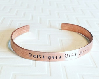 Faith Over Fear Bracelet - Hand Stamped - Copper Bracelet - Thin Bangle Bracelet - Stacking Bracelet - Gift For Her - Religious Gift