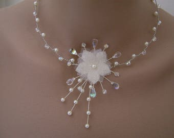 Ivory/Crystal/silver necklace original p dress of bride/wedding/party/ceremony/cocktail flower/beads (cheap)
