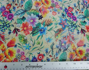 """Leather 12""""x12"""" Colorful WILD DAISIES on EGGSHELL Cowhide 2.5-2.75 oz / 1-1.1 mm PeggySueAlso™  E5200-04"""
