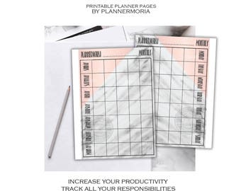 Monthly Marble Peach Pages, monthly planner pages, gray pastel marble monthly planner page, monthly A4 A5 half letter printable planner page