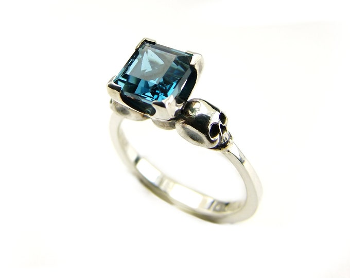 Womens Skull Ring with Square Blue Topaz Gemstone in Sterling Silver for Engagement or Wedding - All Sizes