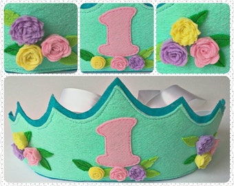 Princess Crown, Choose Your Colors and Age, Personalized Girl Birthday Crown, Girl Party Crown, Handmade Felt Crown