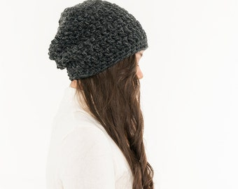 Ready To Ship! SALE - Chunky Knit Super Slouchy Hat Wool Beanie, Ribbed Knitted Slouch Toque, Textured Women Warm Crocheted Handmade Winter