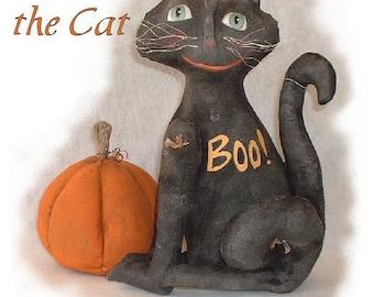 Primitive Folk Art Boo the Cat Halloween Doll Instant Download PDF EPattern