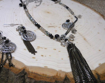 Beaded Extra Long Lariat Tassel Necklace & Earring Set