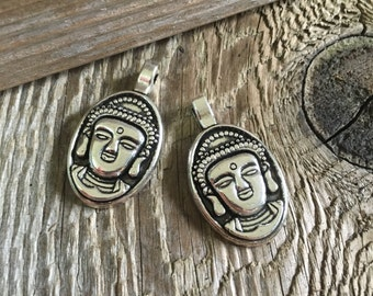 Zen Buddha Face Pendant, Necklace- Boho, Hippy - Silver - 18x30mm - 01 Each