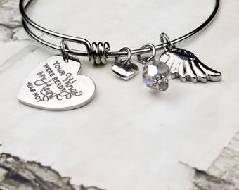 Your Wings Were Ready Memorial Expandable Bangle Bracelet, memory, grieving, mourning, loss of loved one, sympathy, personalized gift,