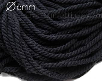 Black cotton rope 6mm 100% cotton cord Cotton twisted rope Black cotton rope Decoration rope Craft supplies Sew rope / 5 meters