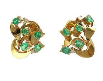Vintage 18K Gold Diamond & Emerald Pierced Post Earrings