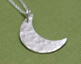 Hammered Sterling Silver Crescent Moon Necklace