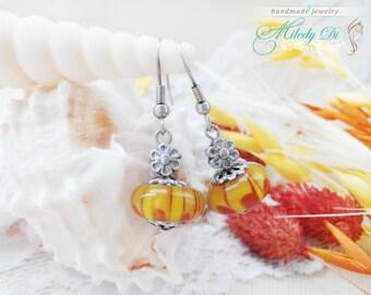 Simple earrings Delicate earrings Birthday gift for her Yellow earrings Cute earrings Everyday earrings Flower earrings Rustic wedding gift