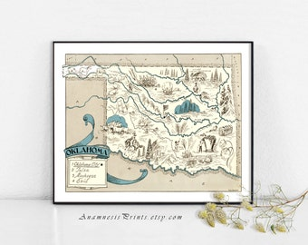 OKLAHOMA MAP PRINT - size & color choices - may be personalized - lovely map print for many gift occasions - framable vintage art wall decor