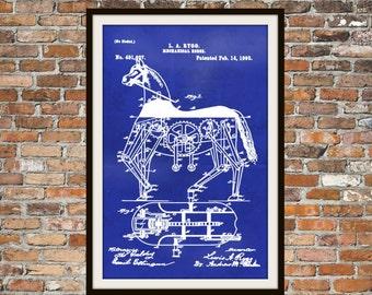 Blueprint Art of Patent Mechanical Horse 1893 Technical Drawings Engineering Drawings Patent Blue Print Art Item 0026