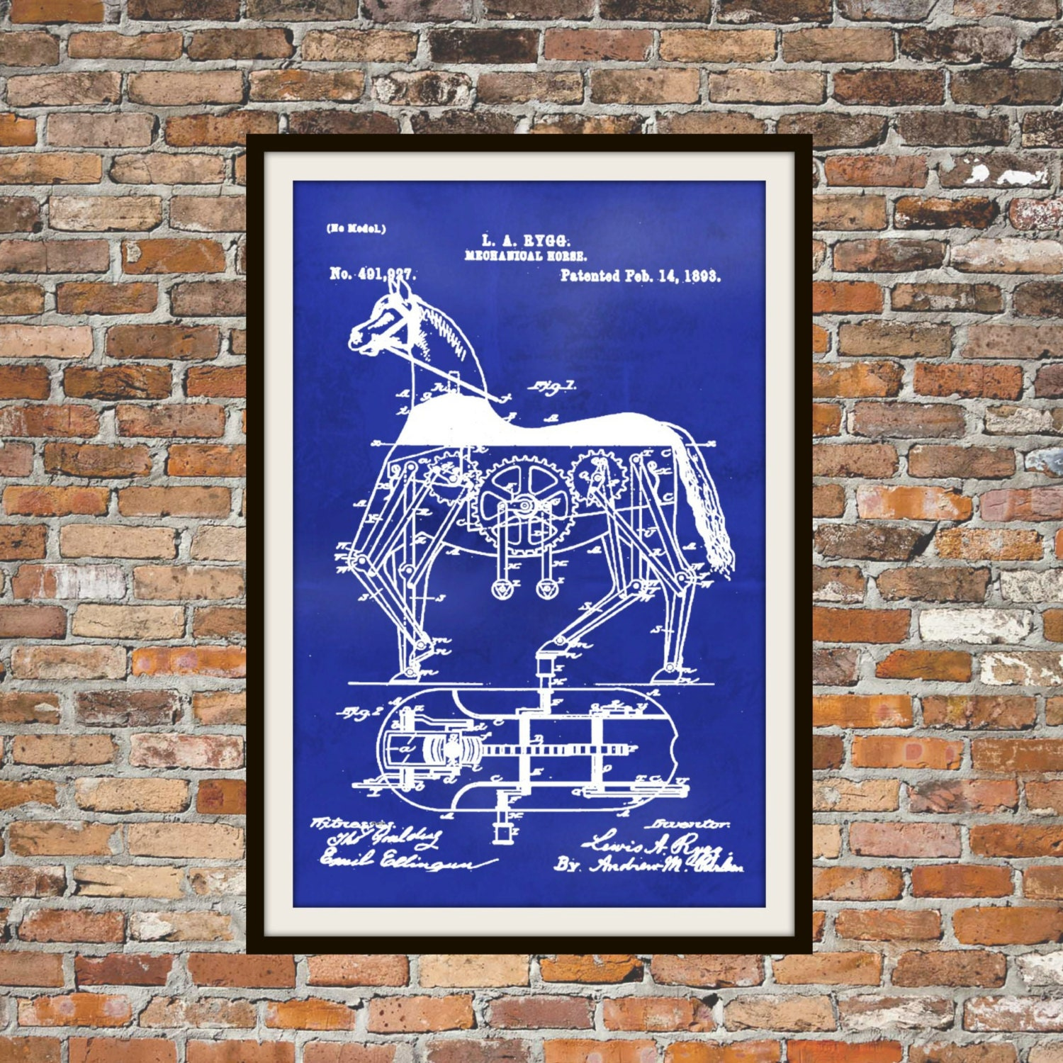 Blueprint art of patent mechanical horse 1893 technical zoom malvernweather Image collections