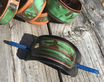 Salvaged Copper and Leather Hair Cuff