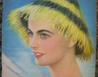 Vintage Magazine.1950s.Collectible.Women fashion.Argentina.For women.For her.Blue.Yellow.Magazine cover.Revista Para Ti.Embroidery.Sewing.