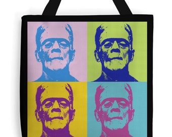 Rockabilly Psychobilly Tote bag Frankenstein on black canvas New
