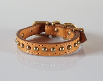 Luxury Dog Collar in High Quality Tan Vegetan Leather and Dome Rivets.