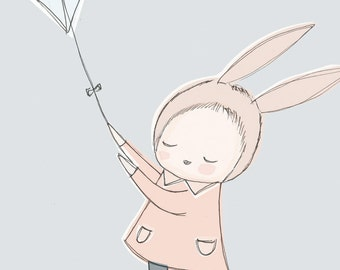 Nursery Art Poster - Childrens Poster - Baby Girl Bunny Rabbit Flying a Kite in the Sky - Pastel Blue version