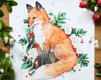 Floral Fox Art Print - Fox with Forest Flowers Art - Watercolor Wildlife Art - Watercolor Fox Illustration