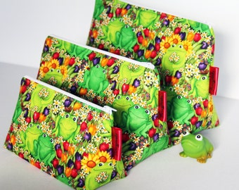 Cute Floral Frogs Make-up and Wash Bags. For Ladies or Gents. Great Gift for all Ages. Sleepover Bag