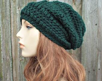 Hunter Green Crochet Hat Womens Hat - Penelope Puff Stitch Slouchy Beanie Hat - Green Beanie Green Hat Wool Hat - READY TO SHIP