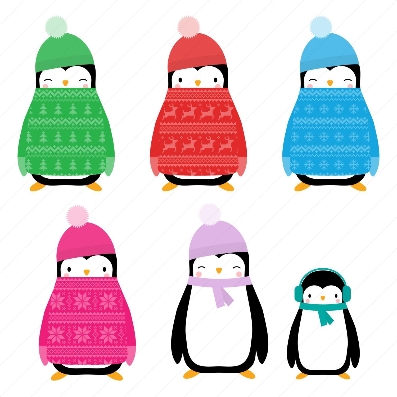 christmas jumper penguin clipart christmas penguin digital rh etsy com Penguins Christmas Tree Clip Art Christmas Penguin Wallpaper