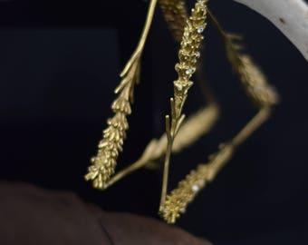 Lavender Flower Earrings Gold