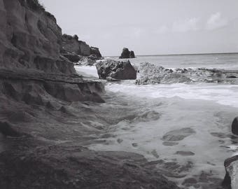 cliffs and surf
