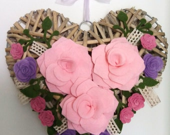 Outdoor wicker and rose heart wreath with felt