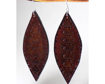 Brown Tooled Leather Earrings, Sterling Silver, Handmade Woven Leaf Shaped Long Earrings, Dangling, Ear Wire Style, Ready to Ship