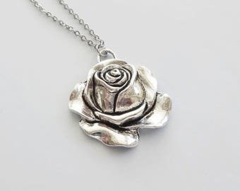 Rose Necklace, Big Rose Charm, Large Flower, Floral Necklace, Statement, Necklace, Valentines Day Gift, Gifts For Her, BFF, Birthday Gift