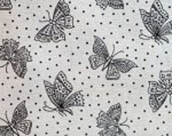 White - Off White Fabric - Black Butterflies